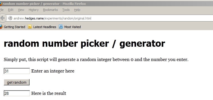 Random number picker