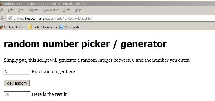 Random number picker