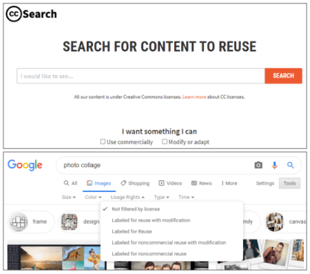 Screenshots from CC Search and Google Image Search